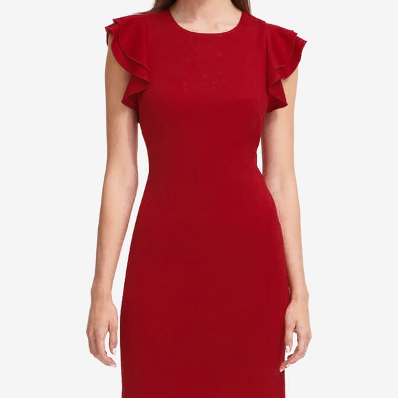 3357d7971 Tommy Hilfiger Dresses | Red Scuba Sheath Dress With Flutter Ruffle ...